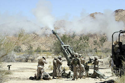 Marines Shoot 100-pound Rounds Poster