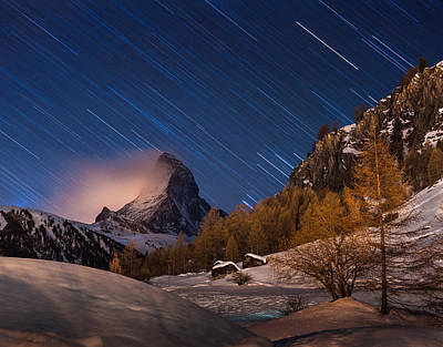 Matterhorn With Star Trail Poster by Coolbiere Photograph