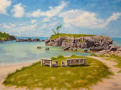 Poster featuring the painting Memories Tobacco Bay Bermuda by Joe Bergholm