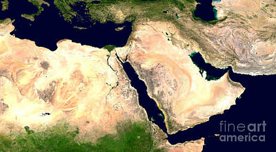Middle East Poster by NASA / Science Source