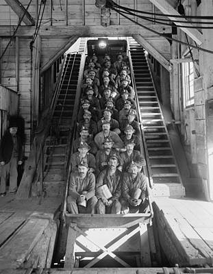 Miners In An Open Tram At The Calumet Poster by Everett