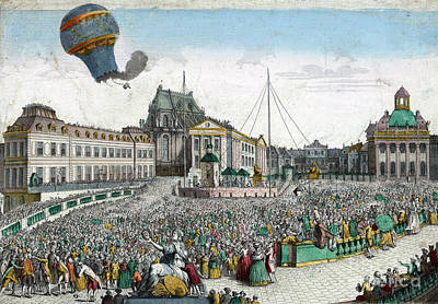 Montgolfier Balloon A�rostat R�veillon Poster by Photo Researchers