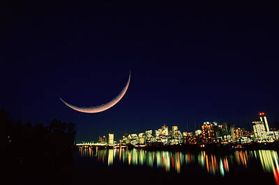Moon Over Vancouver Poster by David Nunuk