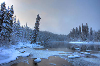 Morley River In Winter Near Teslin Poster by Robert Postma