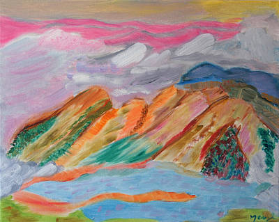Mountains In The Clouds Poster by Meryl Goudey