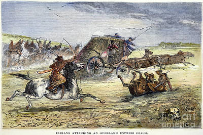 Native American Attack On Coach Poster by Granger