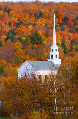 New England Church In Autumn Poster by Jill Battaglia