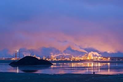 Oil Refinery At Night Poster by David Nunuk