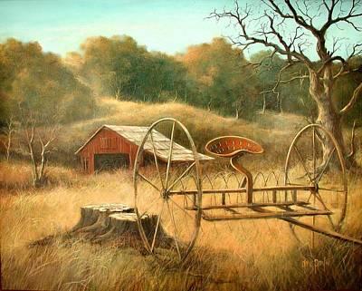 Old Barn And Hay Rake Poster