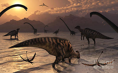Omeisaurus And Parasaurolphus Dinosaurs Poster