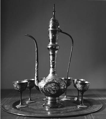 Ornate Arab Pot And Goblets Poster by Paul Cowan