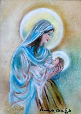 Poster featuring the painting Our Mary's Love by Annamarie Sidella-Felts