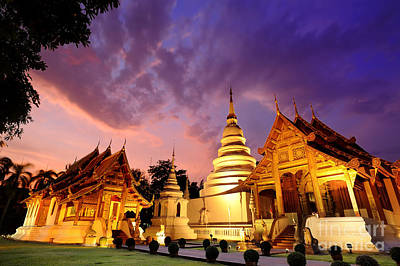 Phra Singh Temple Twilight Time Poster by Panupong Roopyai
