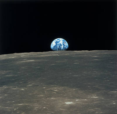 Planet Earth Viewed From The Moon Poster by Stockbyte