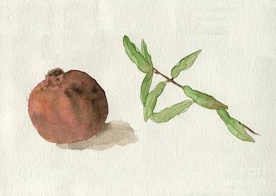 Poster featuring the painting Pomegranate  by Annemeet Hasidi- van der Leij