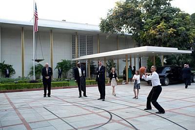 President Barack Obama Shoots Hoops Poster by Everett