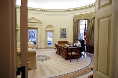 President Barack Obama Talks Poster by Everett