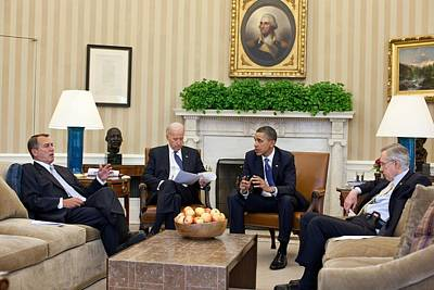 President Obama And Vp Joe Biden Meet Poster by Everett