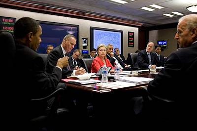President Obama Speaks During A Meeting Poster