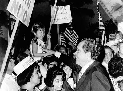 President Richard Nixon Greets Poster by Everett