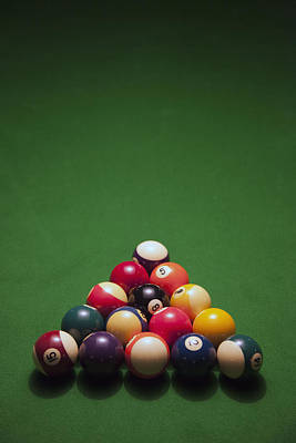 Racked Pool Balls On A Green Felt Pool Table Poster