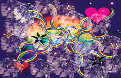 Poster featuring the digital art Rainbow Space by Kim Prowse