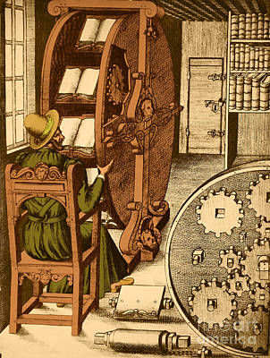 Ramellis Reading Wheel Poster by Photo Researchers