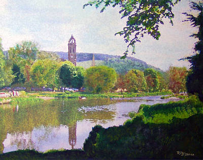 Poster featuring the painting River Walk Reflections Peebles by Richard James Digance