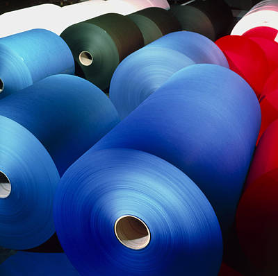 Rolls Of Coloured Paper At A Paper Mill Poster by Colin Cuthbert