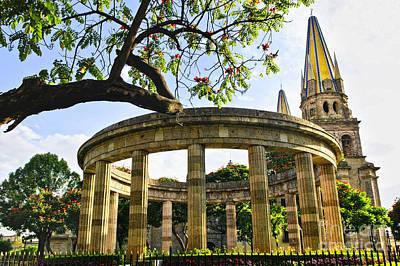 Rotunda Of Illustrious Jalisciences And Guadalajara Cathedral Poster by Elena Elisseeva