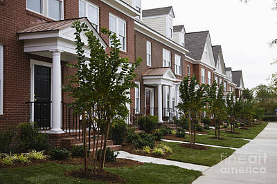 Rows Of New Townhomes Poster by Roberto Westbrook