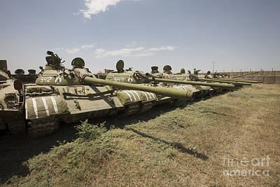 Russian T-54 And T-55 Main Battle Tanks Poster by Terry Moore