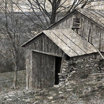 Rustic Hillside Barn Closeup Poster