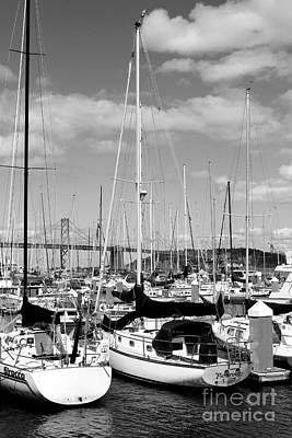 Sail Boats At San Francisco China Basin Pier 42 With The Bay Bridge In The Background . 7d7685 Poster
