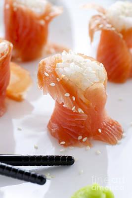 Salmon Sushi Poster by Charlotte Lake