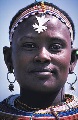 Samburu Maiden In Kenya Poster by Carl Purcell