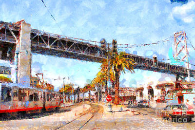 San Francisco Bay Bridge At The Embarcadero . 7d7706 Poster by Wingsdomain Art and Photography