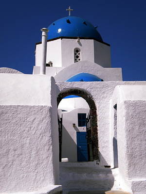 Poster featuring the photograph Santorini Church Greece by Colette V Hera  Guggenheim