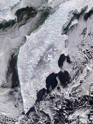 Satellite View Of Kamchatka Peninsula Poster by Stocktrek Images
