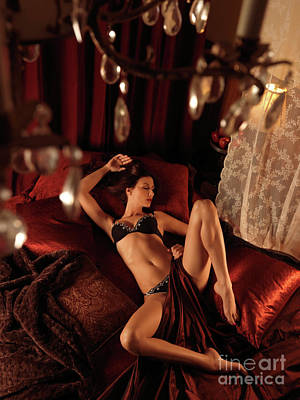 Sexy Young Woman Lying In Bed Poster