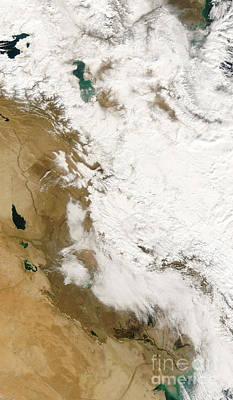 Snow In Iraq Poster by Nasa
