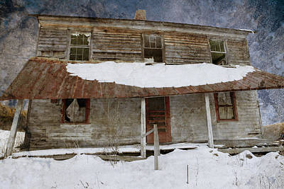 Snowy Abandoned Homestead Porch Poster by John Stephens