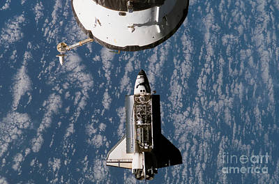 Space Shuttle Atlantis Approaching Poster by Stocktrek Images