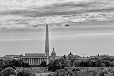 Space Shuttle Discovery Flyover Over The Washington D.c. Area - Poster by Dasha Rosato