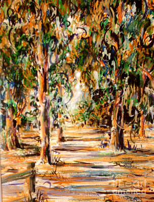 Poster featuring the painting Stanford Eucalyptus Grove by Dee Davis
