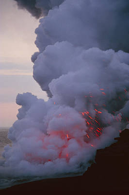 Steam From A Kilauea Volcano Lava Flow Poster