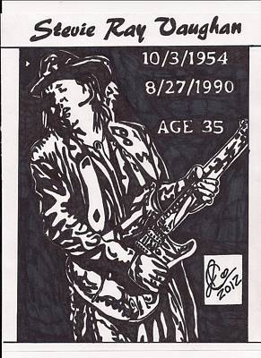 Poster featuring the drawing Stevie Ray Vaughn by Jeremiah Colley