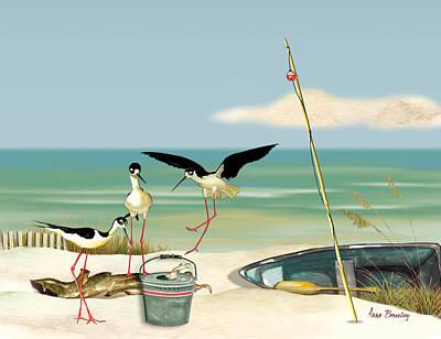 Stilts On Beach Poster