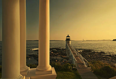 Sunset At Marshall Point Light Poster