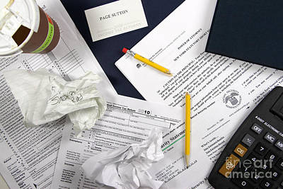 Tax Time Stress Poster by Photo Researchers, Inc.